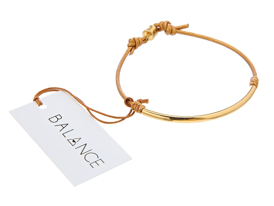 Dogeared Balance Tube Leather Bracelet Honey Bracelet