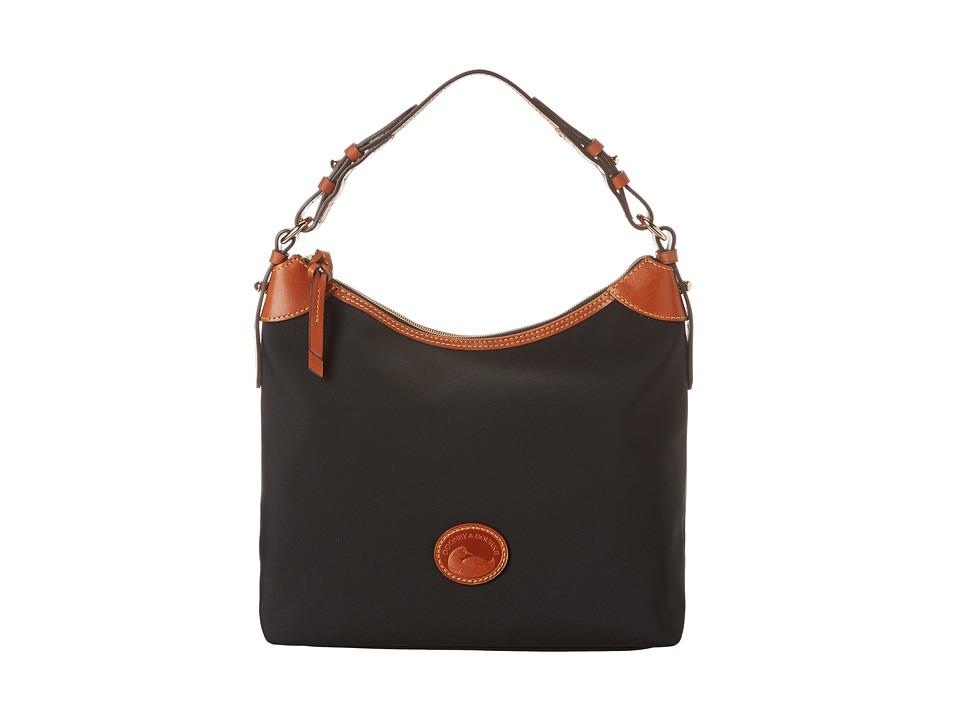 Dooney amp Bourke Nylon Large Erica Black With Tan Trim Hobo Handbags