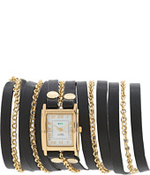 La Mer - Clifton Black Gold leather Wrap Watch
