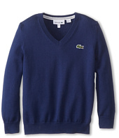 Lacoste Kids - Long Sleeve Cotton V-Neck Sweater (Toddler/Little Kids/Big Kids)