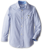 Lacoste Kids - Boys' Long Sleeve Mini Poplin Check Shirt (Little Kids/Big Kids)