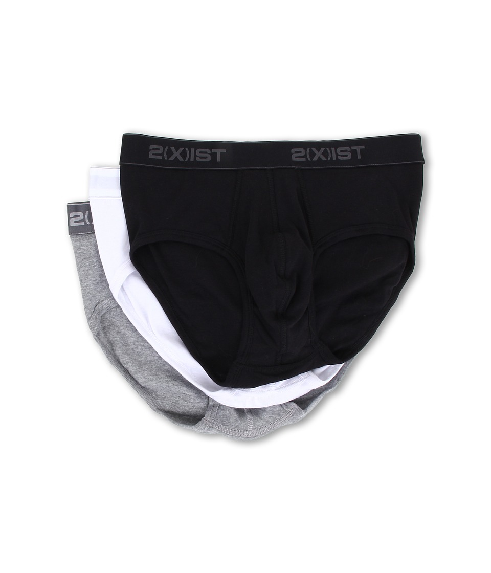 2XIST 3 Pack ESSENTIAL Contour Pouch Brief White/Black/Grey Mens Underwear