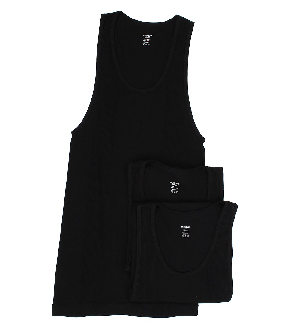 2XIST 3 Pack Essential Athletic Tank Top Black Mens Underwear