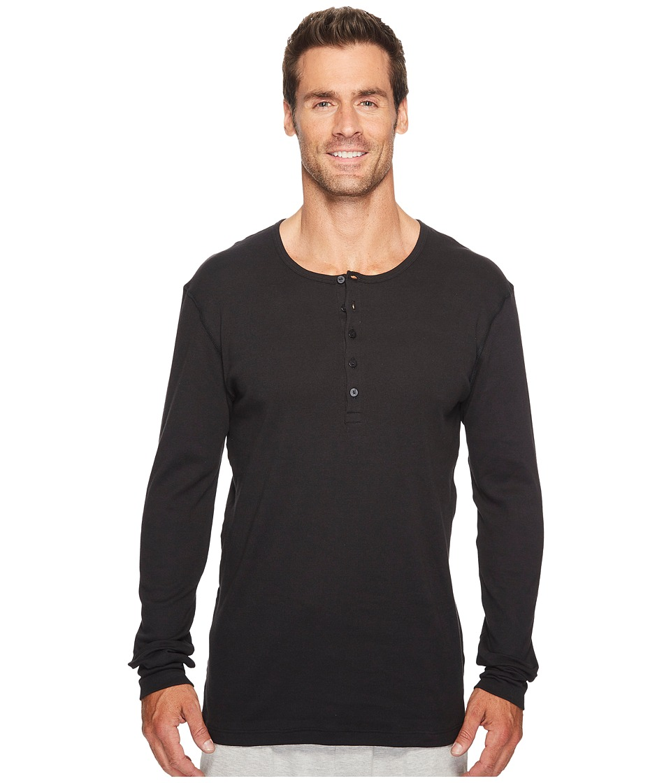 2(X)IST - Essentials L/S Henley (Black) Mens T Shirt