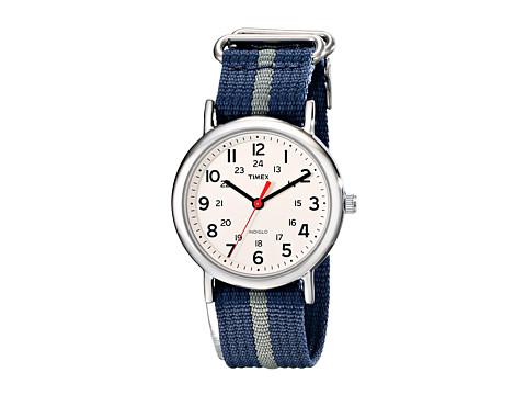 Timex Weekender Slip Through Nylon Strap Watch - Cream/Silver/Blue/Gray
