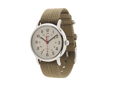 Timex Weekender Slip Through Nylon Strap Watch - Cream/Silver/Olive