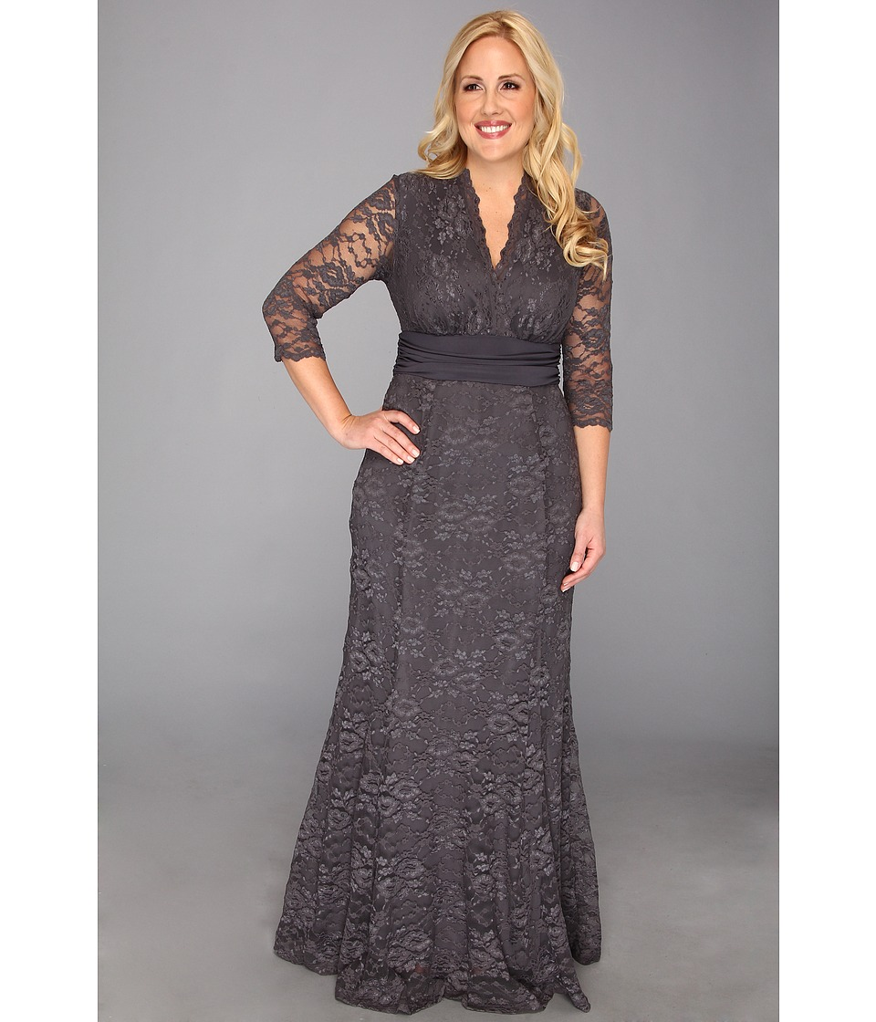 Kiyonna - Screen Siren Lace Gown Charcoal Grey Womens Dress $224.00 AT vintagedancer.com