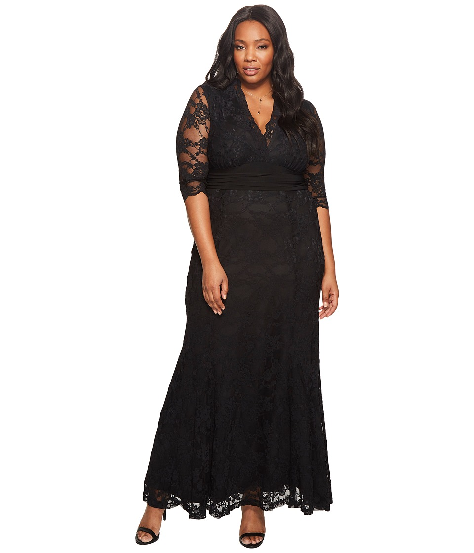 1940s Evening, Prom, Party, Cocktail Dresses & Ball Gowns Kiyonna - Screen Siren Lace Gown Black Womens Dress $189.00 AT vintagedancer.com