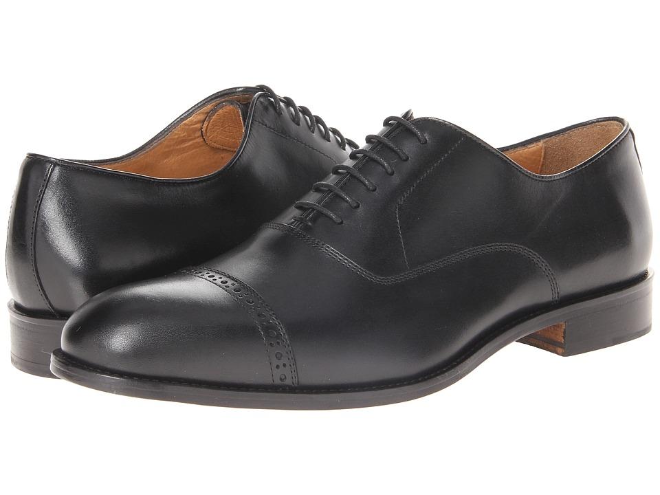 Massimo Matteo - 6-Eye Bal Cap Toe (Black) Mens Lace Up Cap Toe Shoes