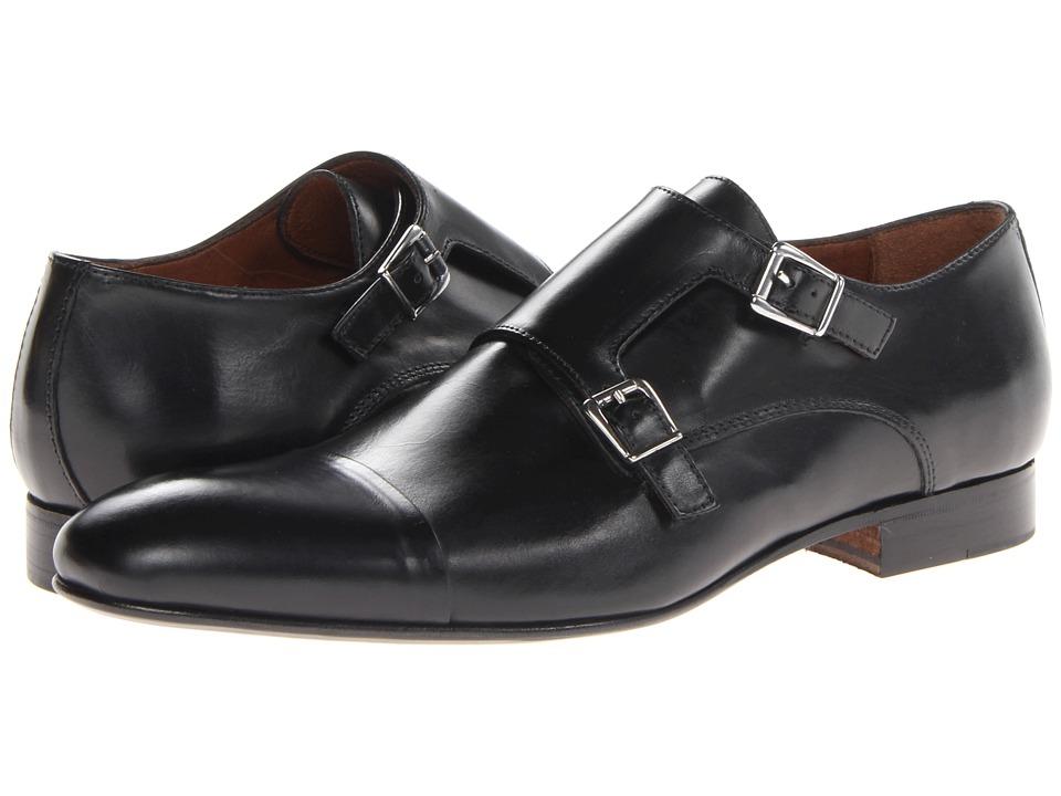 Massimo Matteo - Dbl Monk Cap Toe (Black) Mens Slip on  Shoes