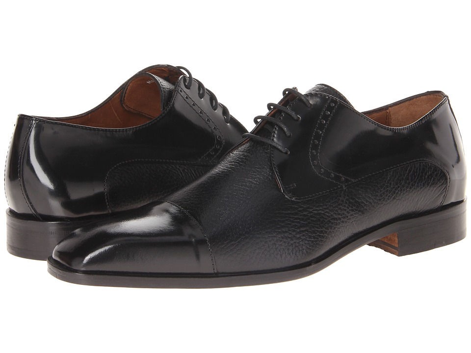 Massimo Matteo 4 Eye Deer Cap Toe Black Mens Lace Up Cap Toe Shoes