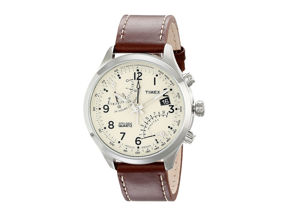 Timex - Intelligent Quartz Fly Back Chronograph Leather Strap Watch (Brown/Cream/Silver-Tone) Watches