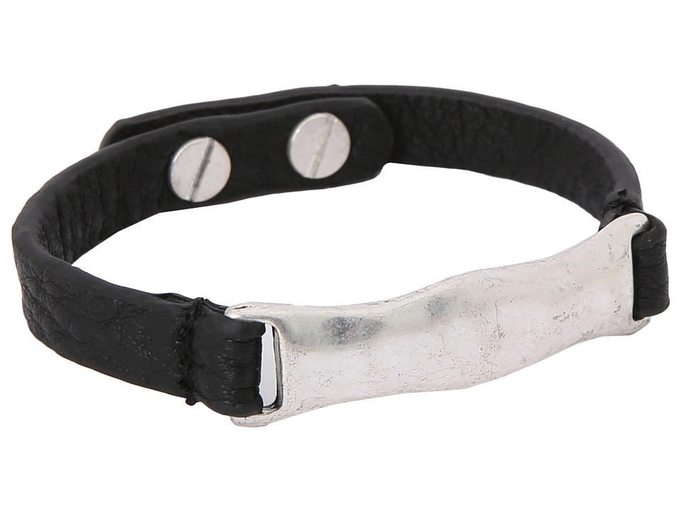 The Sak Organic Leather ID Bracelet (Black/Silver) Bracelet