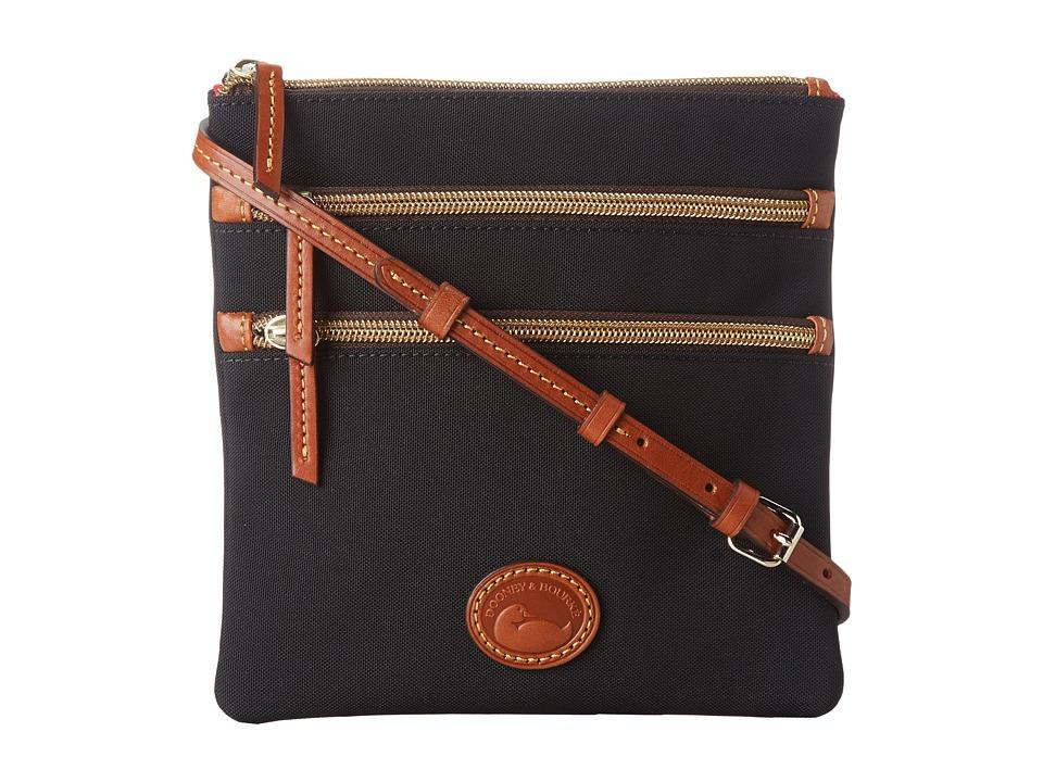 Dooney amp Bourke Nylon North/South Triple Zip Black w/ Tan Trim Cross Body Handbags