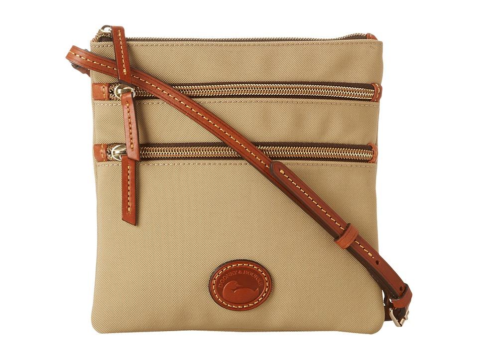 Dooney amp Bourke Nylon North/South Triple Zip Khaki w/ Tan Trim Cross Body Handbags