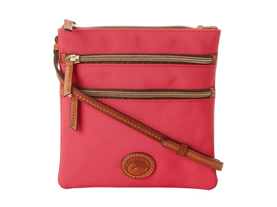 Dooney amp Bourke Nylon North/South Triple Zip Hot Pink w/ Tan Trim Cross Body Handbags