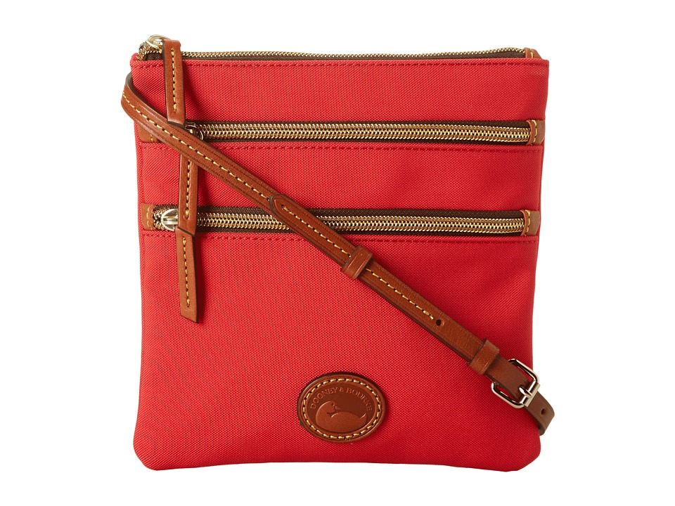 Dooney amp Bourke Nylon North/South Triple Zip Red w/ Tan Trim Cross Body Handbags