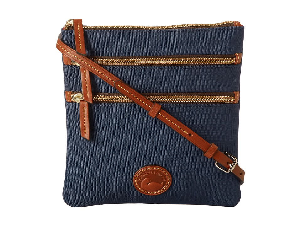 Dooney amp Bourke Nylon North/South Triple Zip Navy w/ Tan Trim Cross Body Handbags