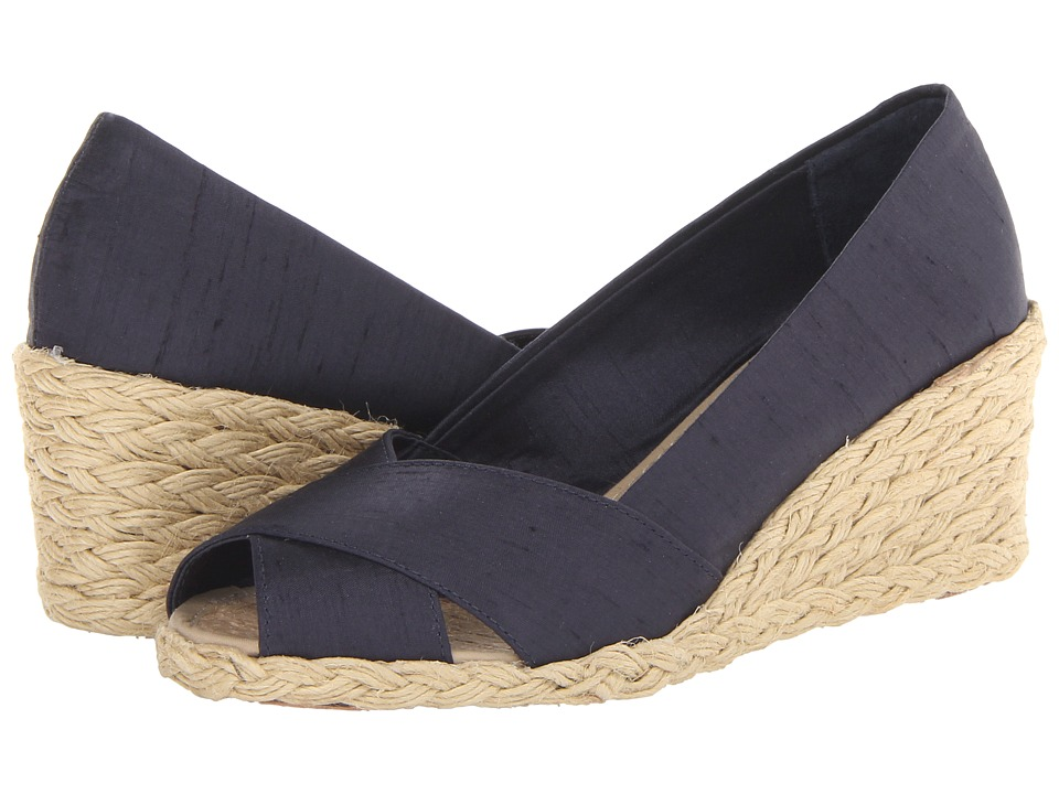 LAUREN Ralph Lauren - Cecilia (Dark Navy Shanthung) Womens Wedge Shoes