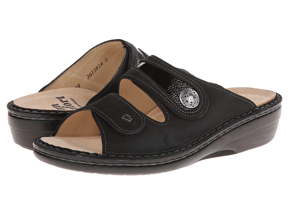 Finn Comfort - Mira (Black Buggy/Patent) Women's Sandals