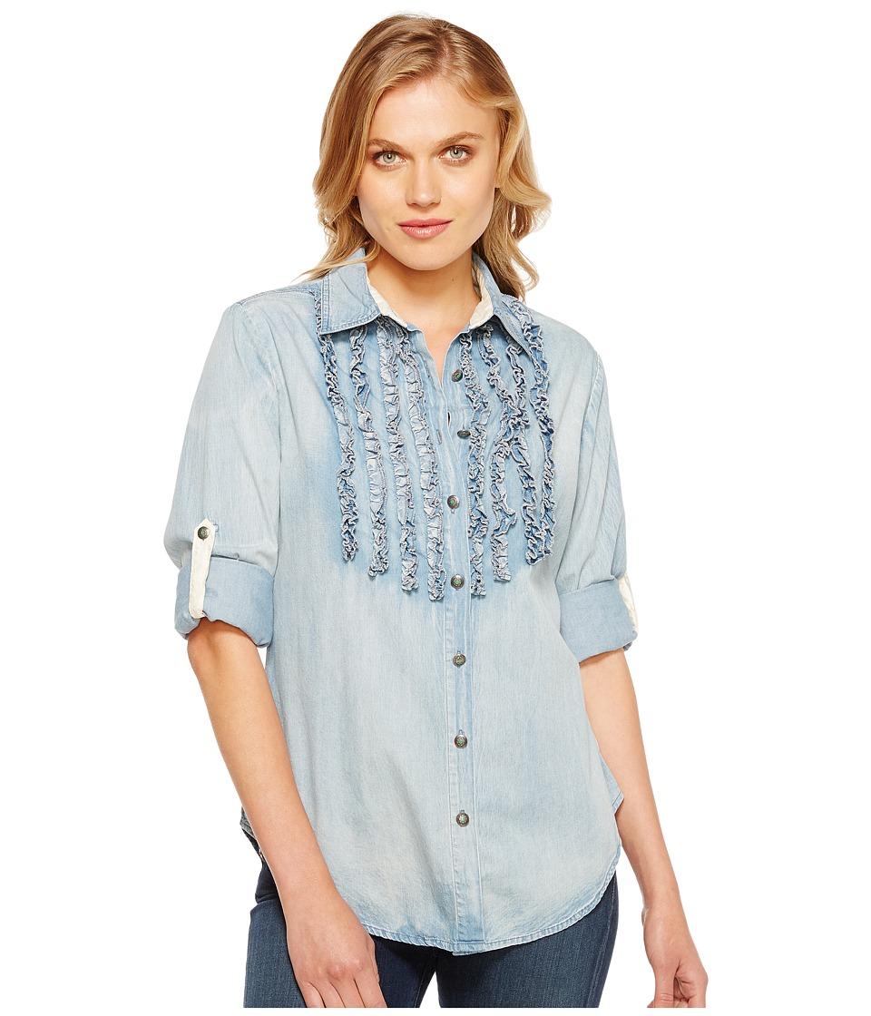 Tasha Polizzi Settler Shirt Blue Womens Long Sleeve Button Up
