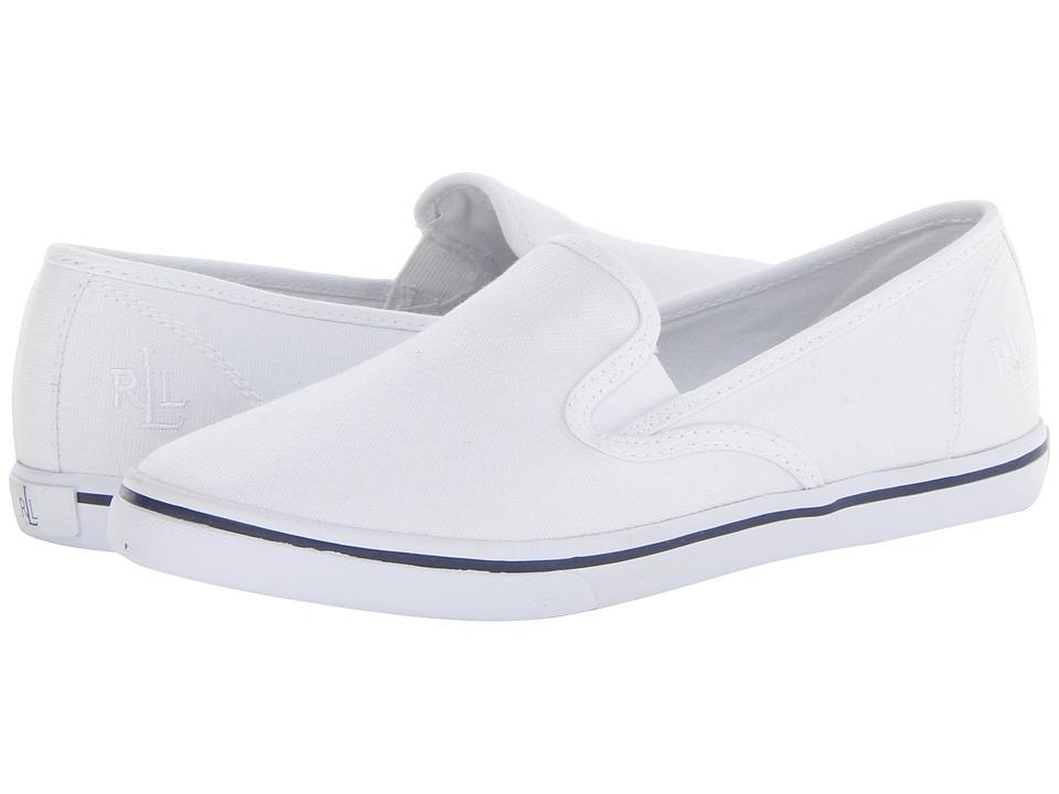 LAUREN Ralph Lauren - Janis (RL White Canvas) Womens Slip on  Shoes