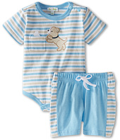 le top - Spot & Ruff Stripe Bodysuit & Short-Puppy & Bone and Puppy Seat (Newborn/Infant)