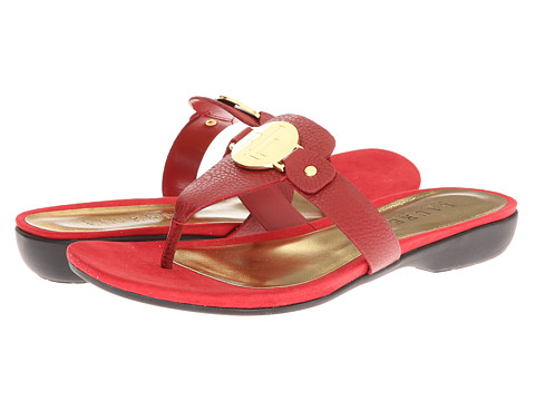 Shop LAUREN by Ralph Lauren online and buy LAUREN by Ralph Lauren Kalana RL Bright Red Soft Tumbled Leather Shoes - LAUREN by Ralph Lauren - Kalana (RL Bright Red Soft Tumbled Leather) - Footwear: The Kalana sandal is an elegant way to celebrate the return of summer weather! ; Patent or kidskin leather upper. ; Slip-on design. ; Thong construction. ; Brand-stamped metal detail on upper. ; Leather lining. ; Synthetic footbed. ; Rubber unit heel. ; Rubber outsole. Measurements: ; Heel Height: 1 in ; Weight: 7 oz ; Product measurements were taken using size 8, width B - Medium. Please note that measurements may vary by size.