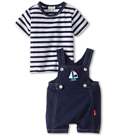 le top - Happy Sails Stripe Shirt and Navy Shortall Romper – Sailboat (Newborn/Infant)