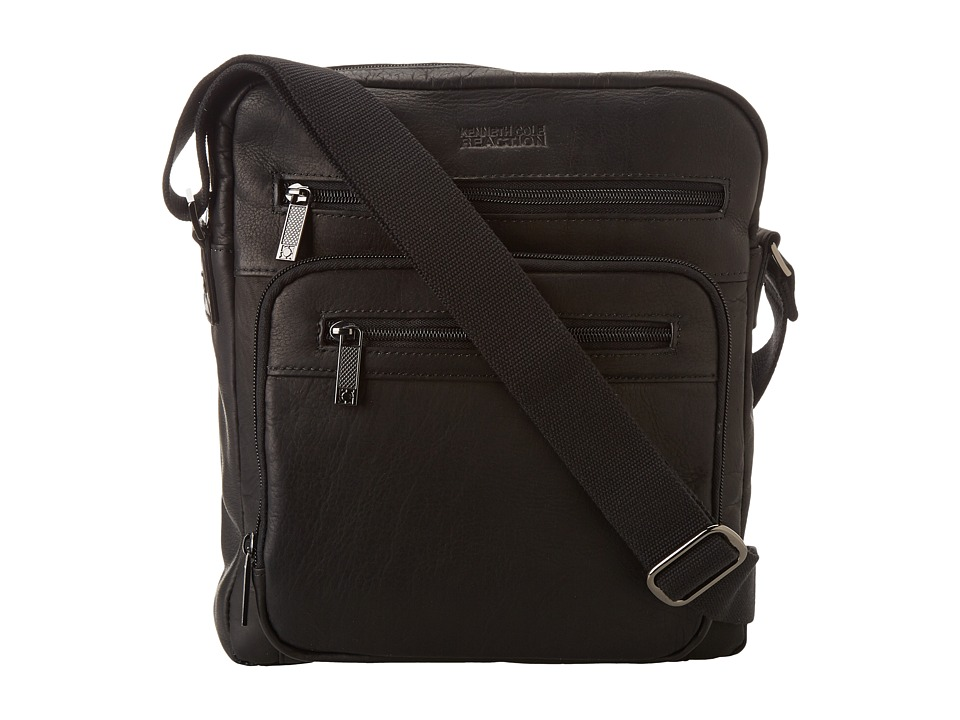 Kenneth Cole Reaction - Columbian Leather - 2.25 Single Gusset Top Zip Day Bag (Black) Messenger Bags