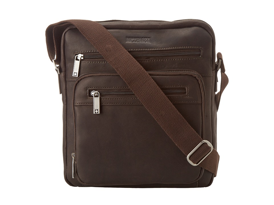 Kenneth Cole Reaction - Columbian Leather - 2.25 Single Gusset Top Zip Day Bag (Dark Brown) Messenger Bags