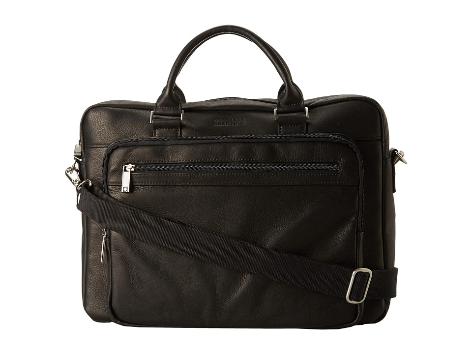 Kenneth Cole Reaction - Columbian Leather - 3.5 Single Gusset Top Zip Computer Case (Black) Computer Bags