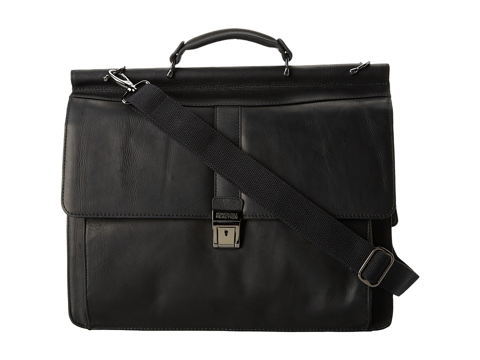 Kenneth Cole Reaction - Columbian Leather - 5.38 Double Gusset Dowel Rod Portfolio (Black) Computer Bags