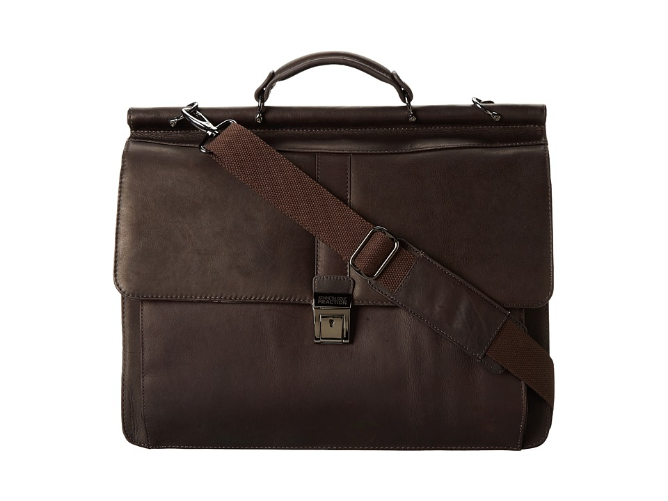 Kenneth Cole Reaction - Columbian Leather - 5.38 Double Gusset Dowel Rod Portfolio (Dark Brown) Computer Bags