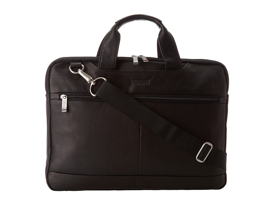 Kenneth Cole Reaction - Colombian Leather - 2.5 Double Gusset Top Zip Computer Case (Black) Bags