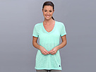 adidas - Boyfriend Double V-Neck Tee (Bahia Mint/Night Blue) - Apparel