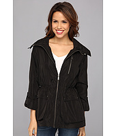 DKNY - Zip Front Hooded Anorak w/ Roll-Tab Sleeves