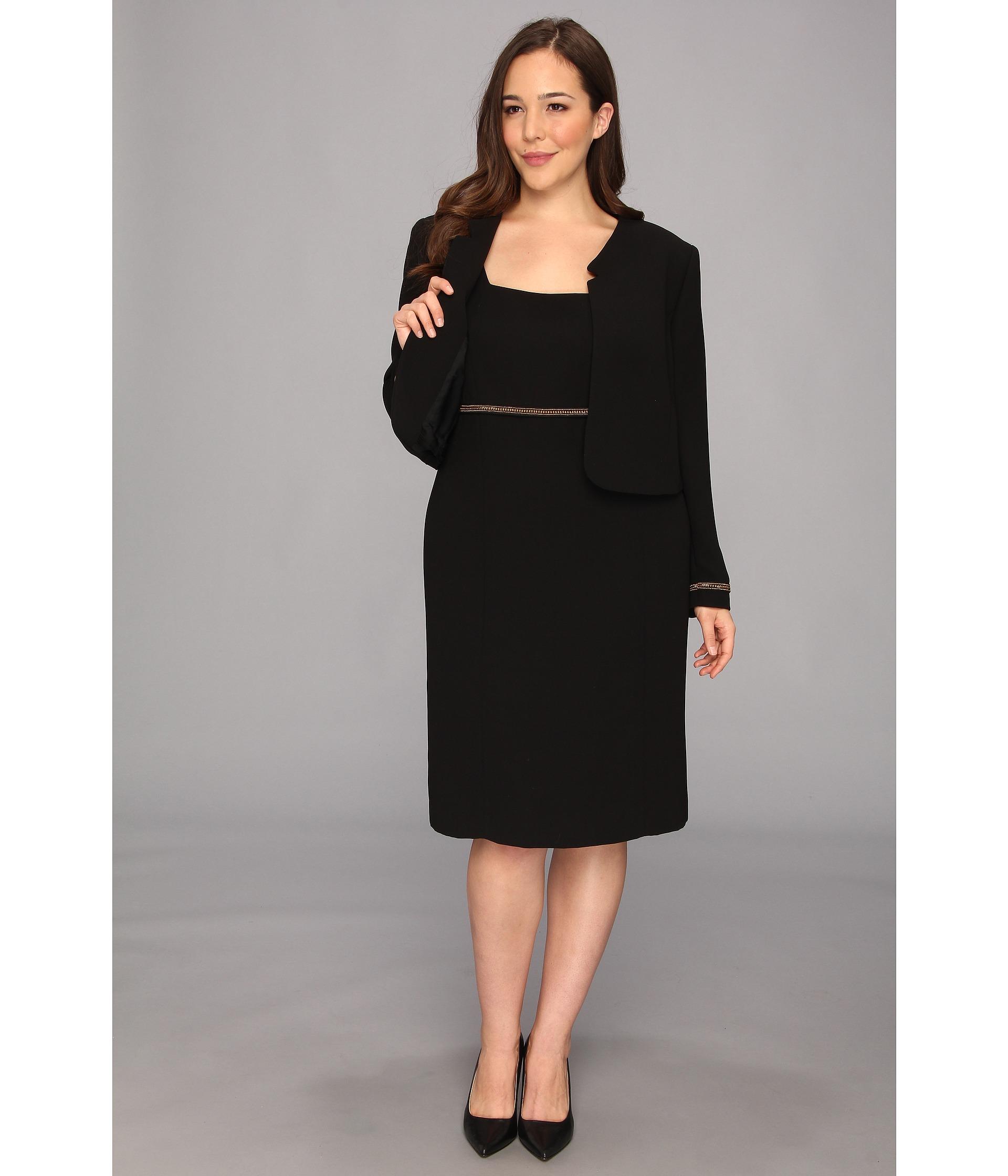 black n white plus length clothes