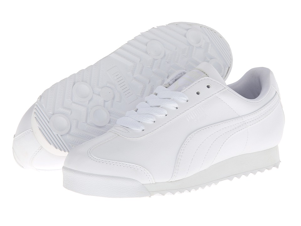 PUMA - Roma Basic Wns (White/Light Gray) Womens  Shoes