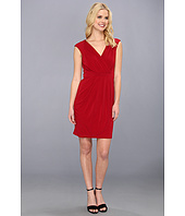 Vince Camuto - V-Neck Pleated Faux Wrap Dress
