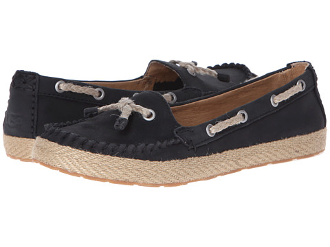 Shop UGG online and buy UGG Chivon Black Nubuck Shoes - UGG Chivon Black Nubuck Shoes: Enjoy longer days full of green grass, sunny skies, and ice cream cones in the bright and cheerful Chivon flat. ; Soft nubuck upper in a moc style features jute lacing and jute-wrapped trim above outsole. ; Soft leather lining. ; Poron and EVA cushioned insole. ; Lightweight, flexible rubber outsole. ; Imported. Measurements: ; Heel Height: 1 2 in ; Weight: 5 oz ; Platform Height: 1 4 in ; Product measurements were taken using size 5, width B Medium. Please note that measurements may vary by size.