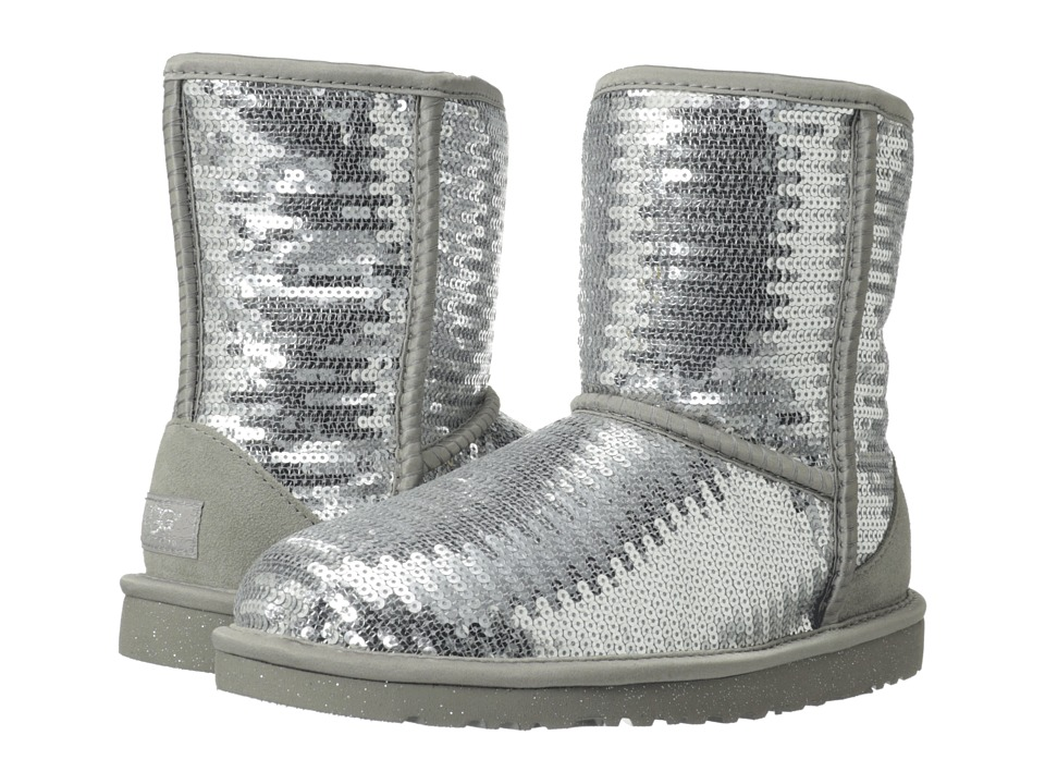 UGG Kids Classic Short Sparkles Big Kid Graphite Girls Shoes