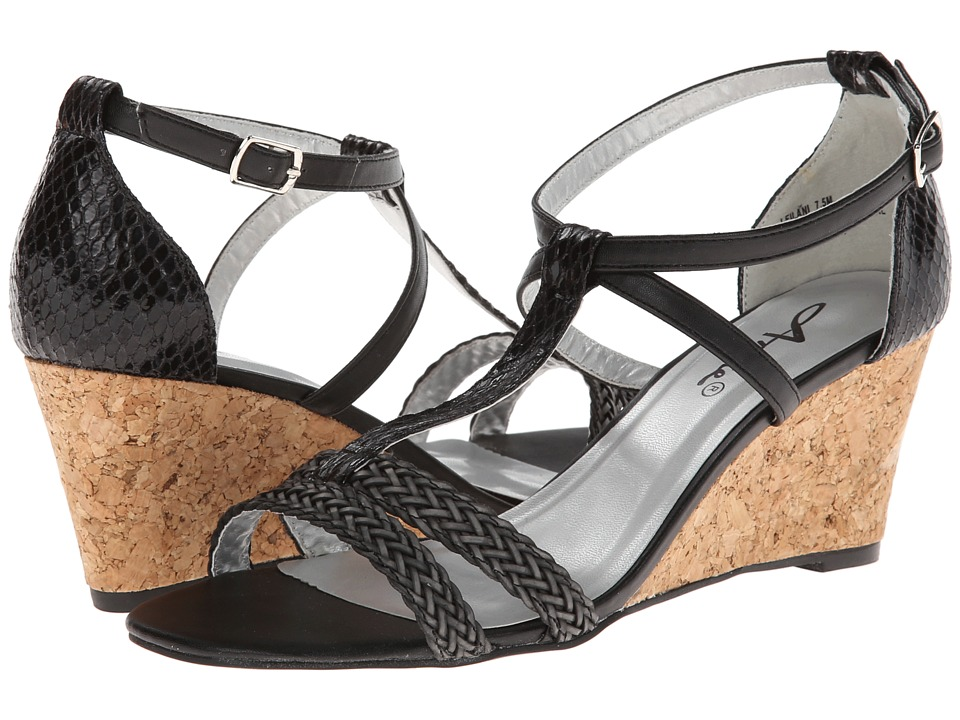 Annie Leilani (Black Painted Snake) Women's Wedge Shoes, wide width womens sandals, wide fitting sandal, WW