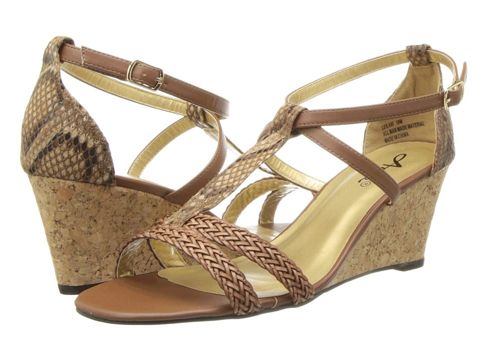 Annie Leilani (Tan Painted Snake) Women's Wedge Shoes, wide width womens sandals, wide fitting sandal, WW