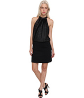 Tibi - Double Layer Gauze w/ CDC Halter Dress w/ Leather Collar & City Stretch