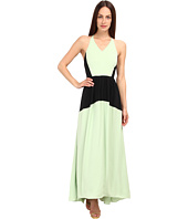 tibi - Washed Matte Drape Colorblocked Long Dress