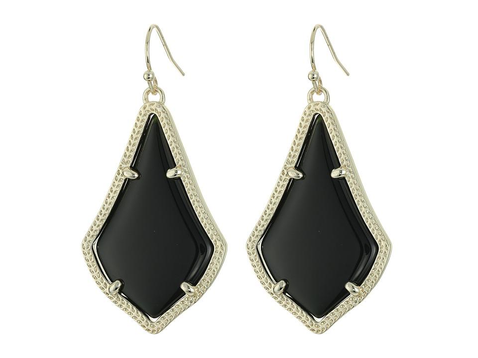 Kendra Scott Alex Earring Gold Black Opaque Glass Earring