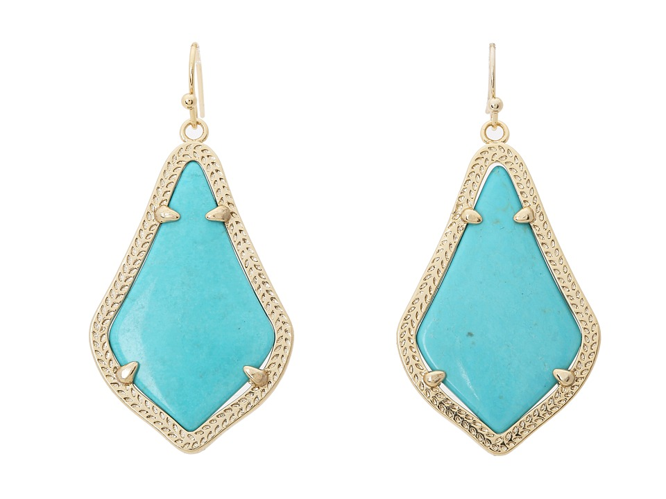 Kendra Scott Alex Earring Gold Turquoise Magnesite Earring