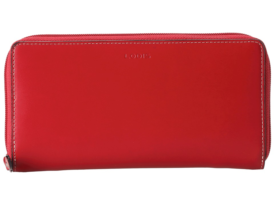 Lodis Accessories - Audrey Iris Zip Around (Red) Checkbook Wallet