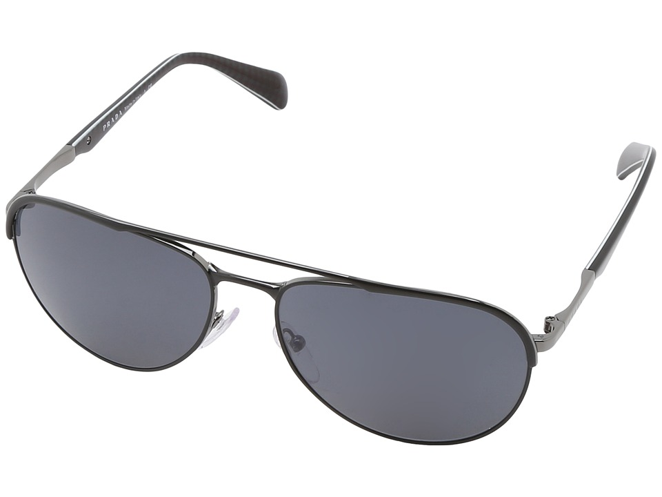 Prada 0PR 51QS Matte Black/Grey Metal Frame Fashion Sunglasses